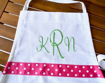 Girls apron personalized apron in custom colors and trim.