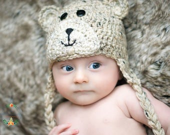 0-3 month bear beanie with face, newborn photography prop, baby shower gift