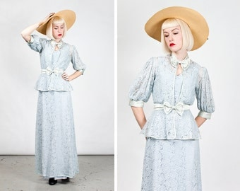 Vintage 1930s Pale Blue Lace and Satin Summer Gown with Jacket