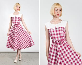 Vintage 1940s Wide Red Gingham Cotton Day Dress