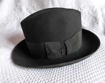 Antique black French borsalino hat, felt hat, gaucho hat, fedora hat, mens or women hat, steampunk accessory w leather rim w bowhat