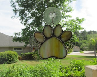 "Stained Glass Paw Print ""Paws To Remember"" Angel - Multi Color Streaky Glass Memorial Marker - Customizable Hand Stamped Name Tag"