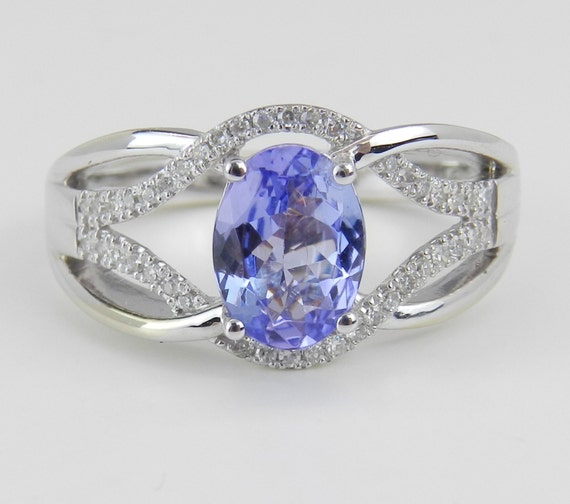White Gold 1.50 ct Diamond and Tanzanite Engagement Promise Ring Size 7