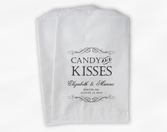 Candy and Kisses Favor Bags for Wedding Candy Buffet - Personalized Favor Bags for Wedding, Shower - Black and White Paper Treat Bags (0192)