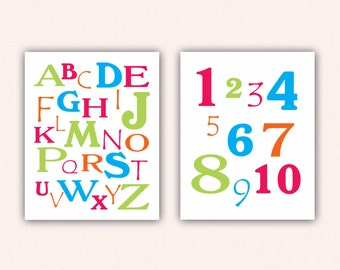 Alphabet and Numbers Print Set - Hot Pink Green Turquoise ABC's and 123's for Kid's Bedroom - Custom Nursery Art (5003)