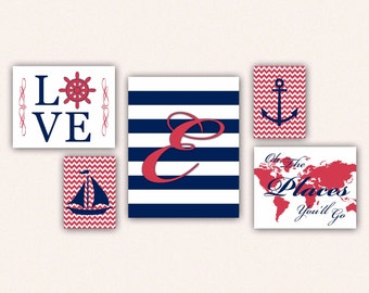 Nautical Monogram Nursery Print Set - Navy & Soft Red Anchor Sail Boat Love World Map, Oh the Places You'll Go on Chevrons, Stripes (5002)