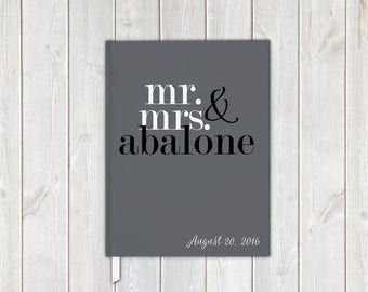 Mr and Mrs Block Letters Wedding Guest Book in Black Gray and White with Last Name - Personalized Traditional Guestbook, Journal, Album