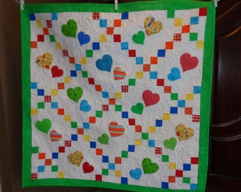 Primary Colors Quilt, Hearts Baby Quilt, Irish Chain Baby Quilt 0121-03