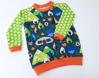 Boy Toddler shirt, Baby boys T-shirt, custom size, Long Sleeve Tee, Camping Woodland Fox, European Handmade
