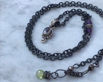 Oxidized Sterling Silver Amethyst Necklace - Peridot  Gemstone - Rustic Boho Sundance Style Artisan Jewelry