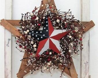 Farmhouse Star - Rustic Memorial Day Wreath - Patriotic Front Door - Rustic Americana Star Wreath - Primitive Tobacco Lathe - Texas Star