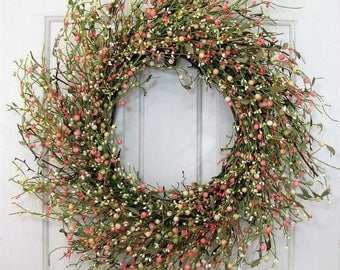Spring Wreath -  Large Wreath - Yellow Berry Wreath - Wedding Wreath - Summer Berry Wreath - Shabby Chic - Farmhouse Front Door Wreath
