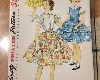 Simplicity 4986 printed sewing pattern size 12 dress jumper blouse skirt 1950s 50s girls clothing ruffle patio dress