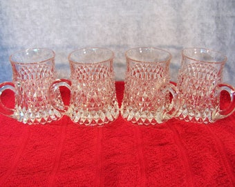 Indiana Glass Tankard Mug in Diamond Point Pattern Set of 4