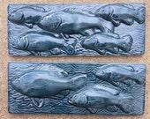 Ceramic Fish Border Tile -- Set of 2 3Fish and 5Fish tiles in Nairobi Blue Glaze, IN STOCK