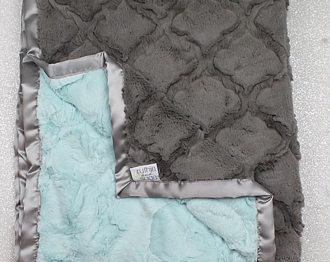 Minky blanket, faux fur throw, seaglass hide, Ocean water minky, seafoam throw, aqua and grey, lattice print, soft blanket, adult minky