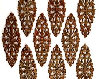 Vintage Filigree Bracelet Bar, Brass Filigree, Beading Filigree, Connectors, Jewelry Making, Gingerbread Brass, B'sue, 50 x 17mm, Item09605