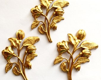 Brass Stampings, 3 Piece, Large Floral Sprig, Vintage Jewelry Supplies, Raw Brass, Antique Brass B'sue Boutiques, 56 x 42mm, Item02419