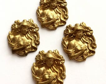 Vintage Brass, Vintage Lady Stampings, 4 Piece, Bohemian Lady, Jewelry Supplies, Patina, Nickel Free, B'sue Boutiques, 34x29mm, Item02547
