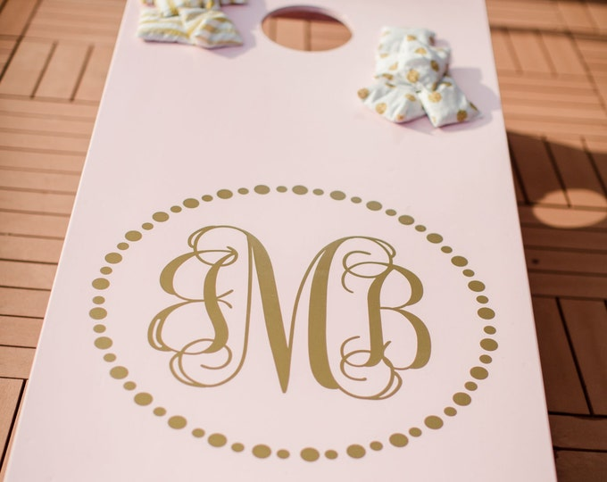 Wedding Corn Hole Board Decal Personalilzed Monogram | Wedding Monogram Stickers for Cornhole | Wedding Cornhole Decals | Southern Wedding