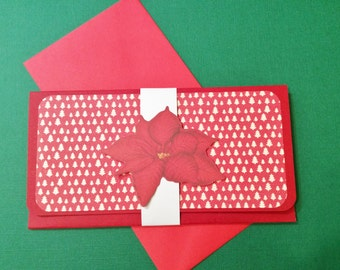 Christmas Money/Gift/Check Card, Red and White, Trees, Poinsettias, Red Envelope, Handmade, White Band
