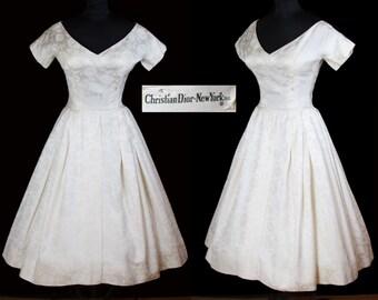 Christian Dior 1950's Designer Silk Brocade Full Skirt Wedding Dress