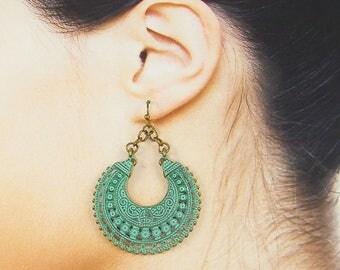 Boho Hoop Earrings, Verdigris Patina Earrings, Ornate Green Brass Earrings, Brass Hoop Earrings |EC2-9