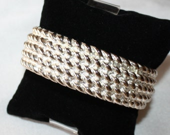 Vintage, Chunky Silver Tone, Clamper Bracelet