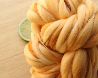 Orange Cream - Handspun Wool Yarn Orange Caramel Thick and Thin Merino