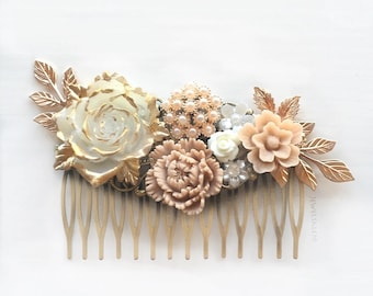 Wedding Hair Comb Bridal Hair Comb Ivory Blush Pink Hair Comb Elegant Romantic Headpiece Rose Gold Hair Slide Rustic Floral Collage Hair Pin