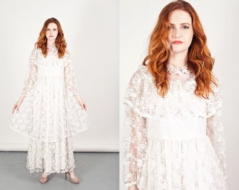 Vintage 70s Lace Dress White Wedding Tiered Prairie Dress