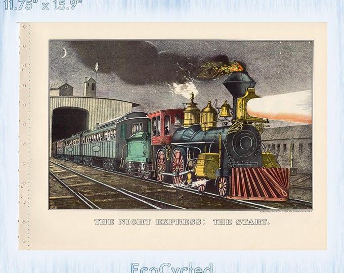 Railroadiana Currier & Ives Vintage Lithograph Print Train Night Express Start/ Rail Road Suspension Bridge Paper Ephemera Book Page  z15-16