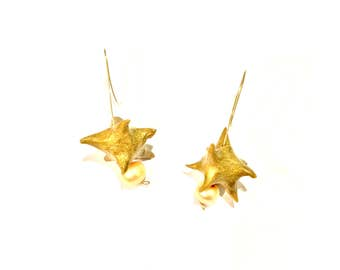 Golden Sycamore Pod Earrings