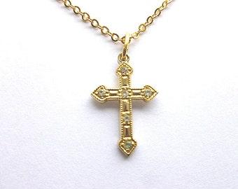 Vintage Petite Goldtone & Crystals Cross, Goldtone Rhinestone Cross Pendant, Childrens Cross, Gold Cross with Neck Chain, Cross Necklace
