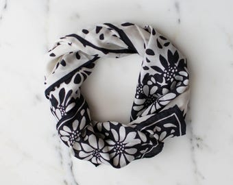 Vera Black and White Floral Scarf, Silk Scarf, Long Length