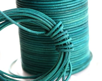 50 meter Spool 1.5mm Round Natural Leather cord - Vintage Turquoise - 54 yards, 50m - BL01