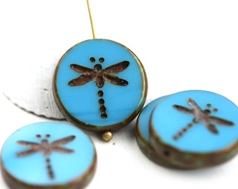 4pc Turquoise Blue Dragonfly beads, Picasso finish, czech glass table cut beads - 17mm - 0441