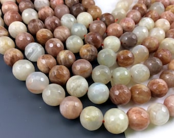 Natural Moonstone Multiple Color 10mm Faceted Round Beads, Full Strand G01089