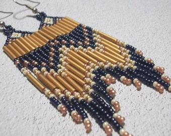 blue gold, seed bead earrings, colorful earrings, dramatic, fringe earrings, boho earrings, bohemian jewelry, bold earrings, statement