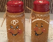 Gingerbread Salt Pepper Shakers. Housewarming Gift. Ginger Kitchen. Cottage Chic. Hand Painted . Ready to Ship. Country. Ginger Lover. Home