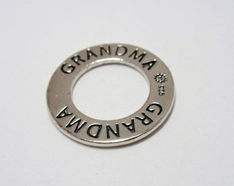 """Sterling Silver """"GRANDMA"""" Affirmation Message Ring, 23mm SS Affirmation Ring"""