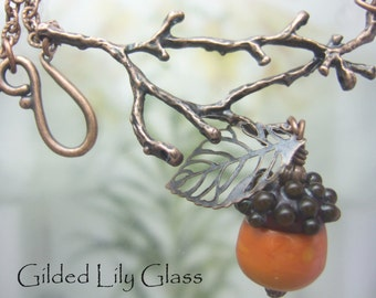 Acorn  on a Twig Pendant, Torchwork Glass Jewelry Handcrafted in North Carolina