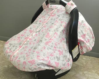 Cool 100% Cotton Baby Car Seat Canopy Cover Pink and Gray Butterflies,(fitted), FREE MONOGRAMMING
