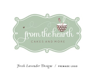 Custom Logo Design Premade Logo and Watermark for Photographers and Small Crafty Businesses Sage Frame for Baking Whimsical Bowl