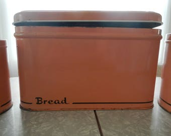 Mid-Century Pink Salmon Metal Canister Set with Bread Box