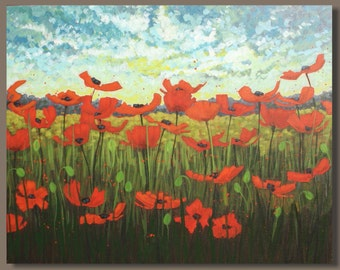 FREE SHIP red poppies landscape, large abstract painting, semi abstract poppy field painting, flowers, impressionist art, cyber monday