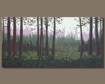 semi abstract painting, landscape painting, forest painting, English garden painting, lush green earth tones, panoramic painting on canvas