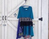 Teal rustic dress, XL satin dress, floral Rustic hippie dress, gypsy dress