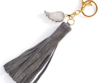 tassel keychain, bag charm, suede leather keychain, crystal keychain, purse charm, white angel wing druzy grey suede tassel keychain