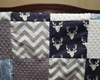 Deer Baby Blanket - Navy Buck, Gray Arrow, Cashmere Blue Arrow, White Minky, and Gray Minky Patchwork Baby Blanket